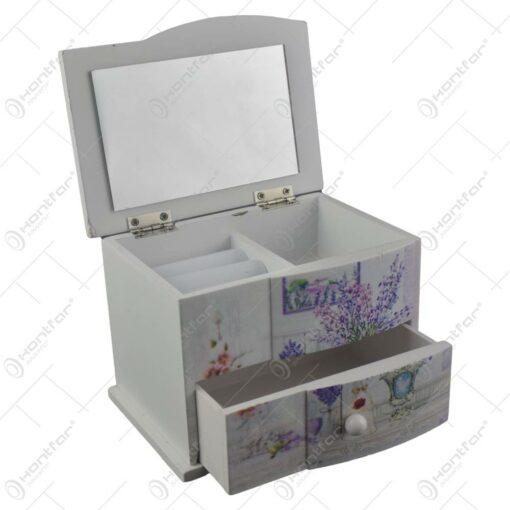 Cutie de bijuterii din lemn cu sertar si oglinda 14x10 CM - Lavanda/Rose