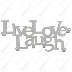Suport pentru chei Live Love Laugh din metal alb 25x11 CM
