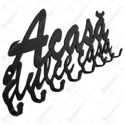 Suport pentru chei din metal negru Acasa dulce casa 24x10 CM