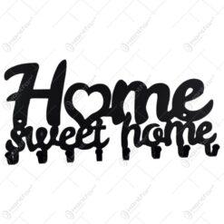 Suport pentru chei din metal negru Home sweet home 25x10 CM