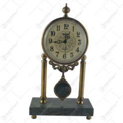 Ceas de masa lux din metal si marmura neagra 40 CM