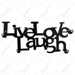 Suport pentru chei Live Love Laugh din metal negru 25x11 CM