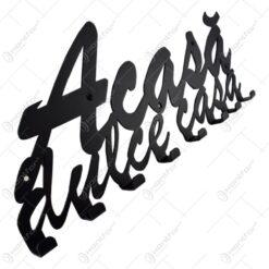 Suport pentru chei din metal negru Acasa dulce casa 50x21 CM