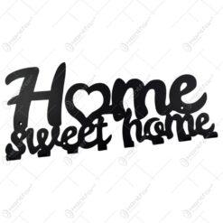 Suport pentru chei din metal negru Home sweet home 50x22 CM