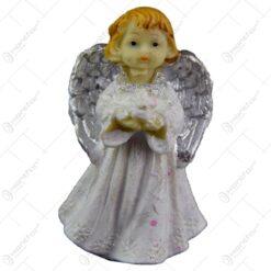 Figurina decorativa realizata din ceramica - Inger - Argintiu - Diferite modele (7 CM)