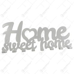 Suport pentru chei din metal alb Home sweet home 50x22 CM