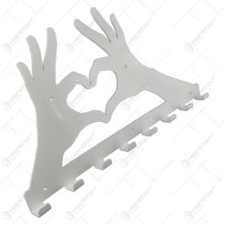 Suport pentru chei din metal alb Love sign 58x30 CM