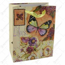Punga cadou din hartie 18x23 CM - Fluturi si flori de liliac