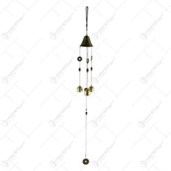 Clopotel de vant din metal cu clopotei si monede 74 CM