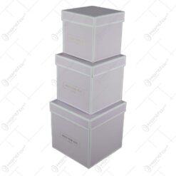 "Set 3 cutii cadou in forma de cub ""Only for you"" Roz"