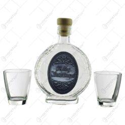 "Set plosca cu 2 pahare tip ""shot"" realizate din sticla - Design Boldog Szuletesnapot"