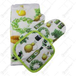 Set bucatarie din textil 3 piese Olive Manusa bucatarie/Suport oala/Servetel