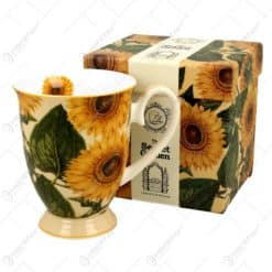 Cana portelan 325 ml Sunflowers in cutie decorativa - Florarea-soarelui