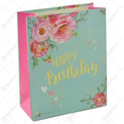 "Punga pentru cadouri - Design floral cu mesajul ""Happy Birthday"" (Model 1)"