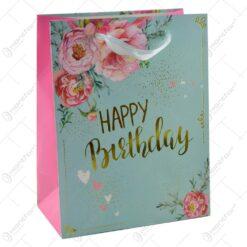 "Punga pentru cadouri - Design floral cu mesajul ""Happy Birthday"" (Model 2)"
