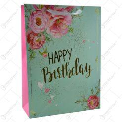 "Punga pentru cadouri - Design floral cu mesajul ""Happy Birthday"" (Model 3)"