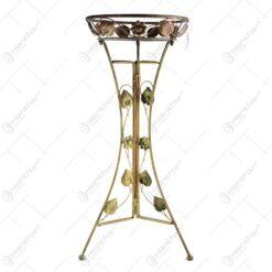 Suport ghiveci auriu din metal cu frunze si flori 80 CM