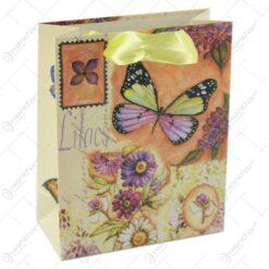 Punga cadou din hartie 11x14 CM - Fluturi si flori de liliac