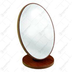 Oglinda de masa ovala cu suport din lemn