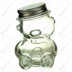Borcan Ursulet din sticla pentru miere 7x10 CM