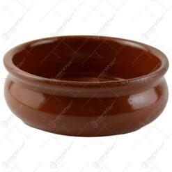 Tava rotunda medie realizata din ceramica pentru prajituri - Maro
