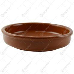 Tava rotunda realizata din ceramica pentru prajituri - Maro (Model 1)