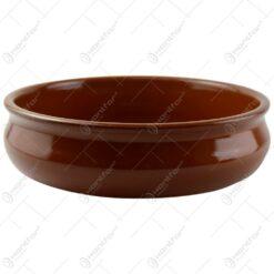 Tava rotunda realizata din ceramica pentru prajituri - Maro (Model 2)