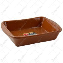 Tava dreptunghiulara realizata din ceramica pentru prajituri - Maro (Model 1)