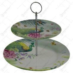 Platou etajat realizat din ceramica in cutie decorativa - Design Flori & Paun