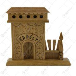 """Poarta Secuiasca din lemn cu inscriptia """"Erdely"""" 16x14 CM"""