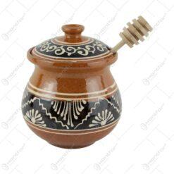 Cana miere din ceramica cu lingurita din lemn 13 CM