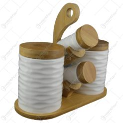 Set condimente 4 piese din ceramica cu suport bambus 25x12 CM