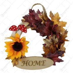 Coronita de toamna pentru usa cu frunze si floarea-soarelui 21 CM
