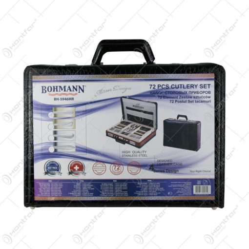 Set tacamuri 72 piese din inox cu diplomat negru Bohmann