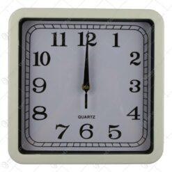 Ceas de perete patrat din plastic Negru/Alb 25 CM