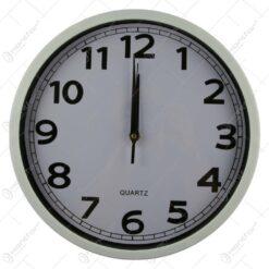 Ceas de perete rotund din plastic Negru/Alb 30CM