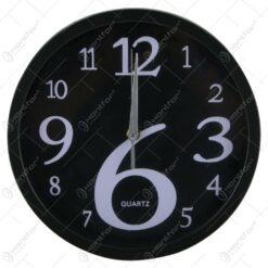 Ceas de perete rotund din plastic Negru/Alb 25 CM