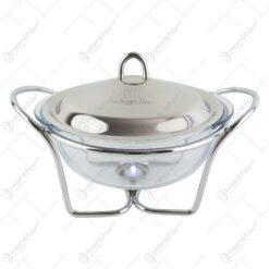 Bol pentru supe termorezistent cu suport incalzire si capac din inox 2.4 L