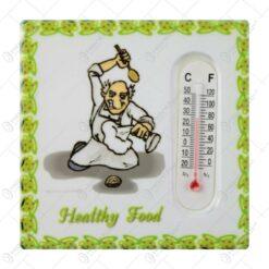 Magnet frigider din ceramica cu termometru Healthy Food