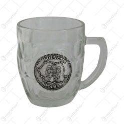 Halba bere cu eticheta metalica Stema romaniei 9 CM