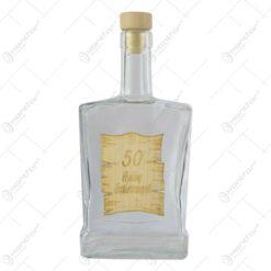 "Sticla decorativa cu eticheta din lemn ""Isten eltessen/Boldog 50"