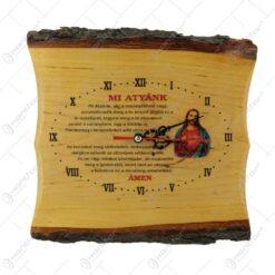 """Ceas de perete din lemn cu rugaciune Domneasca """"Mi Atyank"""""""