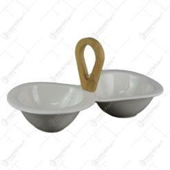 Bol dublu pentru servire realizat din ceramica si bambus 28x14 CM