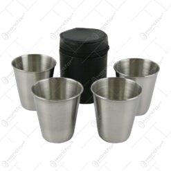 Set 4 pahare din inox cu husa