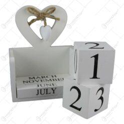 Calendar perpetuu din lemn vintage 14x18 CM - Design Inima