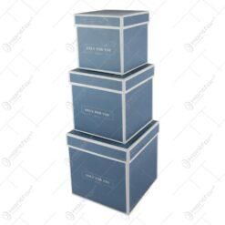"""Set 3 cutii cadou in forma de cub """"Only for you"""" Albastru"""