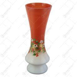 Vaza florala din sticla pictata manual Portocaliu/Alb 35 CM