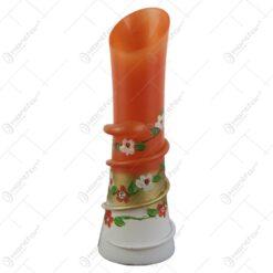 Vaza florala din sticla pictata manual cu spiral Portocaliu/Alb 24 CM