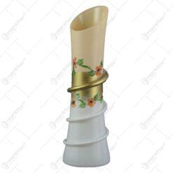 Vaza florala din sticla pictata manual cu spiral Crem/Alb 24 CM