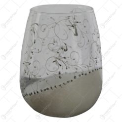 Vaza realizata din sticla cu spirale albe 10 CM